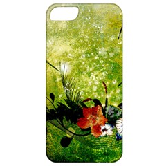 Awesome Flowers And Lleaves With Dragonflies On Red Green Background With Grunge Apple iPhone 5 Classic Hardshell Case