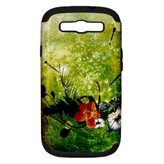 Awesome Flowers And Lleaves With Dragonflies On Red Green Background With Grunge Samsung Galaxy S III Hardshell Case (PC+Silicone)