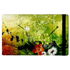 Awesome Flowers And Lleaves With Dragonflies On Red Green Background With Grunge Apple iPad 3/4 Flip Case
