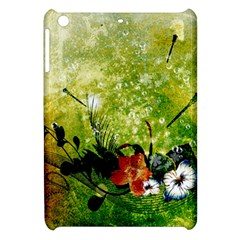 Awesome Flowers And Lleaves With Dragonflies On Red Green Background With Grunge Apple iPad Mini Hardshell Case