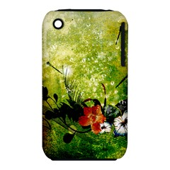 Awesome Flowers And Lleaves With Dragonflies On Red Green Background With Grunge Apple iPhone 3G/3GS Hardshell Case (PC+Silicone)