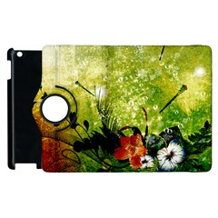 Awesome Flowers And Lleaves With Dragonflies On Red Green Background With Grunge Apple iPad 3/4 Flip 360 Case