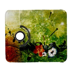 Awesome Flowers And Lleaves With Dragonflies On Red Green Background With Grunge Samsung Galaxy S  III Flip 360 Case
