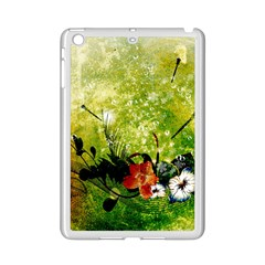 Awesome Flowers And Lleaves With Dragonflies On Red Green Background With Grunge iPad Mini 2 Enamel Coated Cases