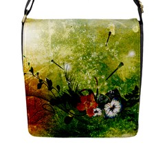 Awesome Flowers And Lleaves With Dragonflies On Red Green Background With Grunge Flap Messenger Bag (L)