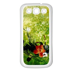 Awesome Flowers And Lleaves With Dragonflies On Red Green Background With Grunge Samsung Galaxy S3 Back Case (White)