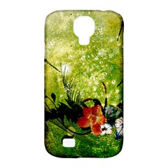 Awesome Flowers And Lleaves With Dragonflies On Red Green Background With Grunge Samsung Galaxy S4 Classic Hardshell Case (PC+Silicone)