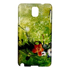 Awesome Flowers And Lleaves With Dragonflies On Red Green Background With Grunge Samsung Galaxy Note 3 N9005 Hardshell Case