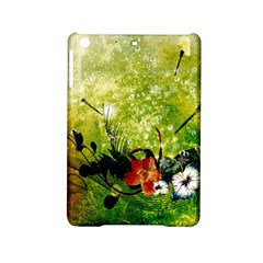 Awesome Flowers And Lleaves With Dragonflies On Red Green Background With Grunge Ipad Mini 2 Hardshell Cases