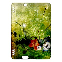 Awesome Flowers And Lleaves With Dragonflies On Red Green Background With Grunge Kindle Fire Hdx Hardshell Case