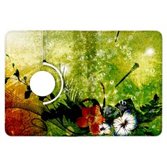 Awesome Flowers And Lleaves With Dragonflies On Red Green Background With Grunge Kindle Fire HDX Flip 360 Case