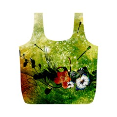 Awesome Flowers And Lleaves With Dragonflies On Red Green Background With Grunge Full Print Recycle Bags (M)