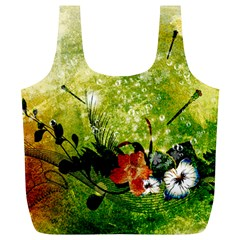 Awesome Flowers And Lleaves With Dragonflies On Red Green Background With Grunge Full Print Recycle Bags (L)