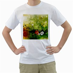 Awesome Flowers And Lleaves With Dragonflies On Red Green Background With Grunge Men s T-Shirt (White)