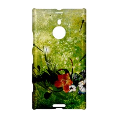 Awesome Flowers And Lleaves With Dragonflies On Red Green Background With Grunge Nokia Lumia 1520
