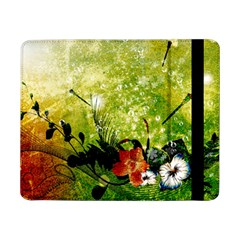 Awesome Flowers And Lleaves With Dragonflies On Red Green Background With Grunge Samsung Galaxy Tab Pro 8.4  Flip Case
