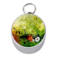 Awesome Flowers And Lleaves With Dragonflies On Red Green Background With Grunge Mini Silver Compasses