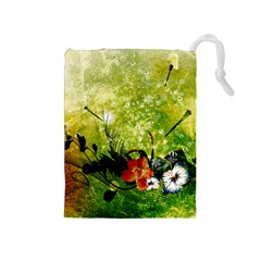 Awesome Flowers And Lleaves With Dragonflies On Red Green Background With Grunge Drawstring Pouches (Medium)
