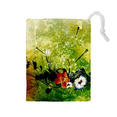 Awesome Flowers And Lleaves With Dragonflies On Red Green Background With Grunge Drawstring Pouches (large)