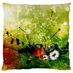 Awesome Flowers And Lleaves With Dragonflies On Red Green Background With Grunge Large Flano Cushion Cases (one Side)