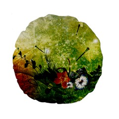 Awesome Flowers And Lleaves With Dragonflies On Red Green Background With Grunge Standard 15  Premium Flano Round Cushions