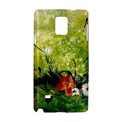 Awesome Flowers And Lleaves With Dragonflies On Red Green Background With Grunge Samsung Galaxy Note 4 Hardshell Case