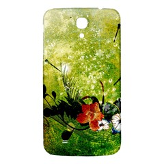 Awesome Flowers And Lleaves With Dragonflies On Red Green Background With Grunge Samsung Galaxy Mega I9200 Hardshell Back Case