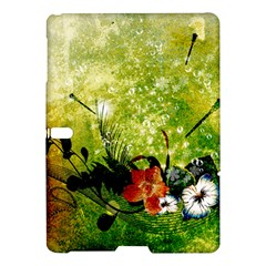 Awesome Flowers And Lleaves With Dragonflies On Red Green Background With Grunge Samsung Galaxy Tab S (10.5 ) Hardshell Case