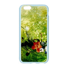 Awesome Flowers And Lleaves With Dragonflies On Red Green Background With Grunge Apple Seamless iPhone 6/6S Case (Color)