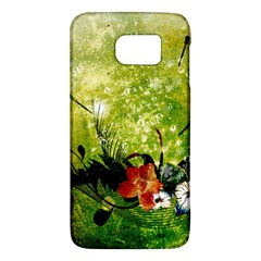 Awesome Flowers And Lleaves With Dragonflies On Red Green Background With Grunge Galaxy S6