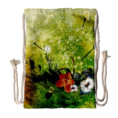 Awesome Flowers And Lleaves With Dragonflies On Red Green Background With Grunge Drawstring Bag (Large)
