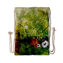 Awesome Flowers And Lleaves With Dragonflies On Red Green Background With Grunge Drawstring Bag (Small)