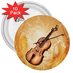 Wonderful Violin With Violin Bow On Soft Background 3  Buttons (10 pack)