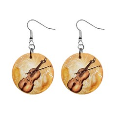Wonderful Violin With Violin Bow On Soft Background Mini Button Earrings