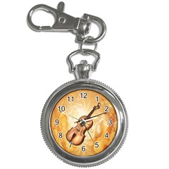 Wonderful Violin With Violin Bow On Soft Background Key Chain Watches