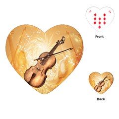 Wonderful Violin With Violin Bow On Soft Background Playing Cards (heart)