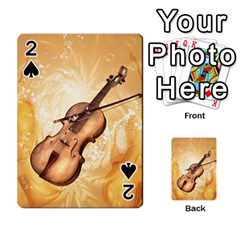 Wonderful Violin With Violin Bow On Soft Background Playing Cards 54 Designs