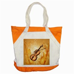 Wonderful Violin With Violin Bow On Soft Background Accent Tote Bag