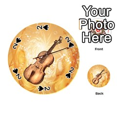 Wonderful Violin With Violin Bow On Soft Background Playing Cards 54 (round)