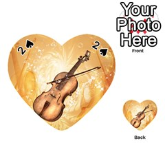Wonderful Violin With Violin Bow On Soft Background Playing Cards 54 (heart)