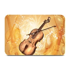 Wonderful Violin With Violin Bow On Soft Background Plate Mats