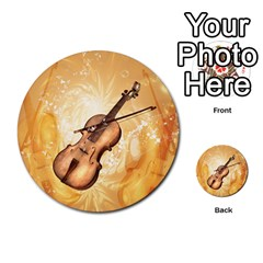 Wonderful Violin With Violin Bow On Soft Background Multi Purpose Cards (round)