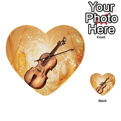 Wonderful Violin With Violin Bow On Soft Background Multi-purpose Cards (Heart)