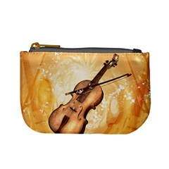 Wonderful Violin With Violin Bow On Soft Background Mini Coin Purses
