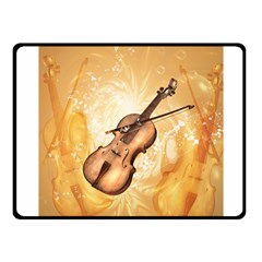 Wonderful Violin With Violin Bow On Soft Background Fleece Blanket (small)