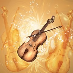 Wonderful Violin With Violin Bow On Soft Background Magic Photo Cubes
