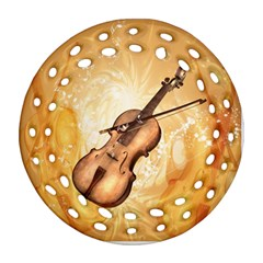 Wonderful Violin With Violin Bow On Soft Background Ornament (round Filigree)