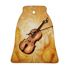 Wonderful Violin With Violin Bow On Soft Background Ornament (Bell)