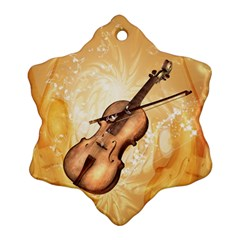 Wonderful Violin With Violin Bow On Soft Background Snowflake Ornament (2-Side)