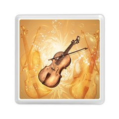 Wonderful Violin With Violin Bow On Soft Background Memory Card Reader (square)